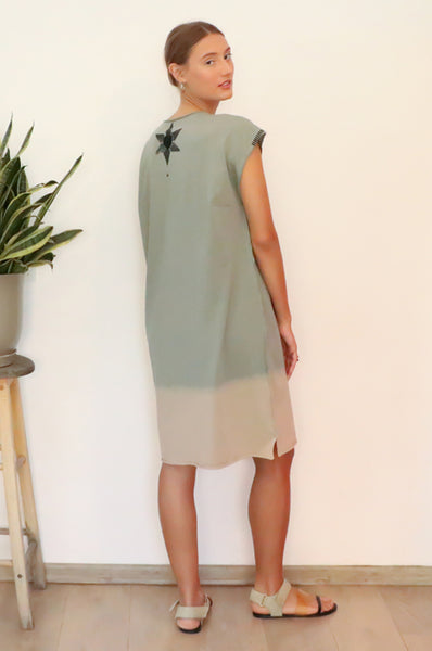 Hand dyed Khaki Kaftan T dress