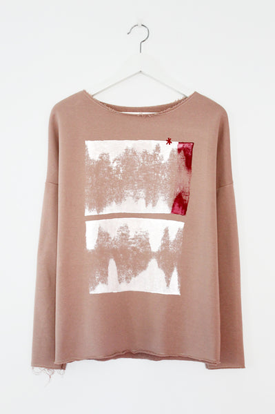 Printed powder pink sweatshirt