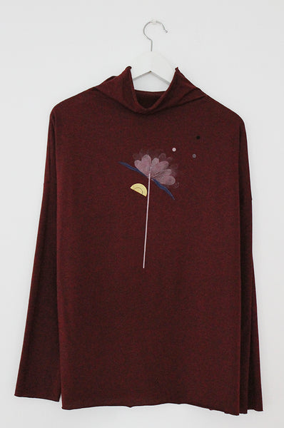Flower printed wine turtle neck shirt