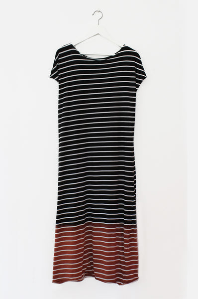 Striped & dyed Maxi tshirt dress