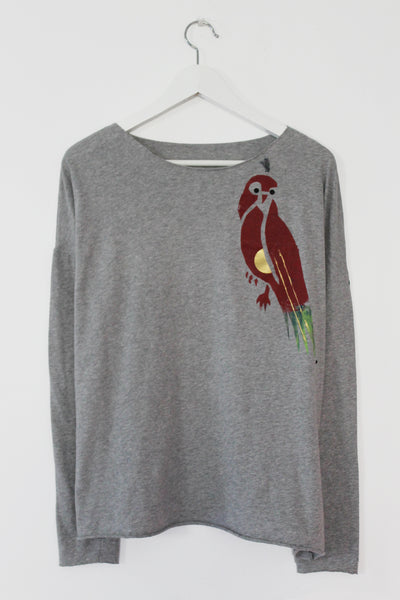 Multi color parrot printed Grey shirt