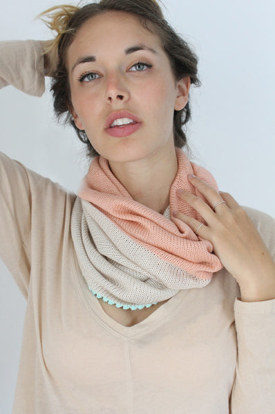 Cream & Peach loop Bamboo scarf