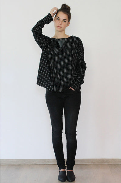 White polka dots printed Black knit