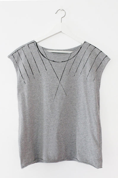 Grey shirt with Black lines print