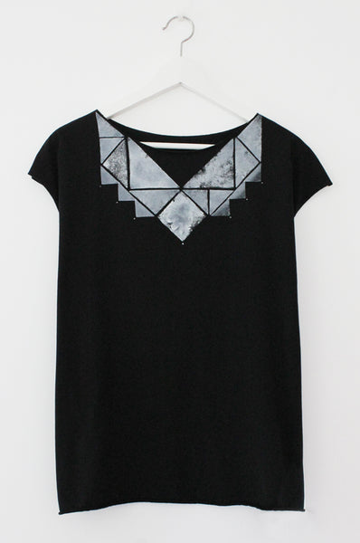 Black T shirt with Triangles print