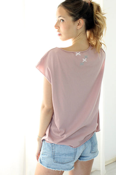 XXX printed Powder pink  tshirt