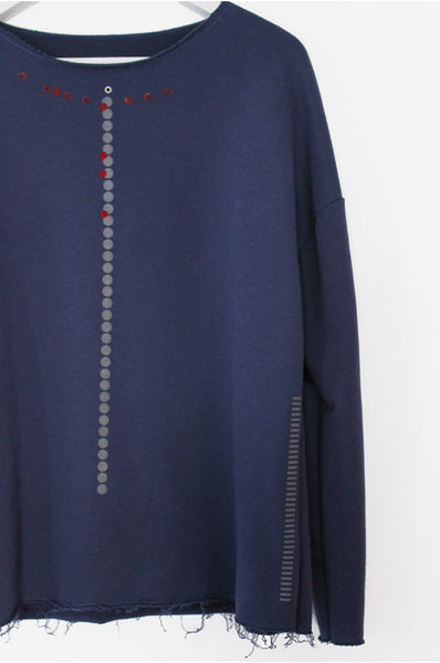 Blue sweatshirt with dots & stripes