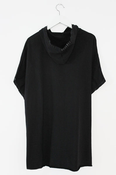 Black hooded poncho sweatshirt
