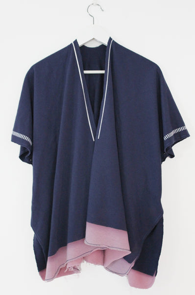 Blue open throw on sweatshirt