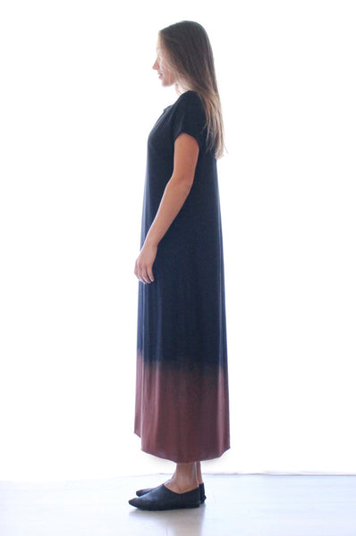 Hand dyed Black maxi T dress