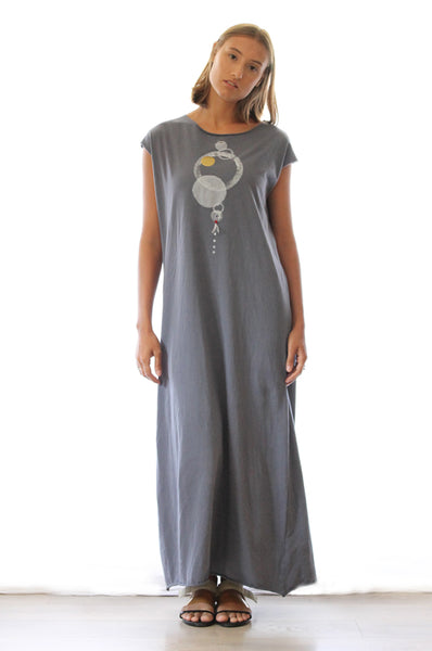 Circles printed grey maxi dress