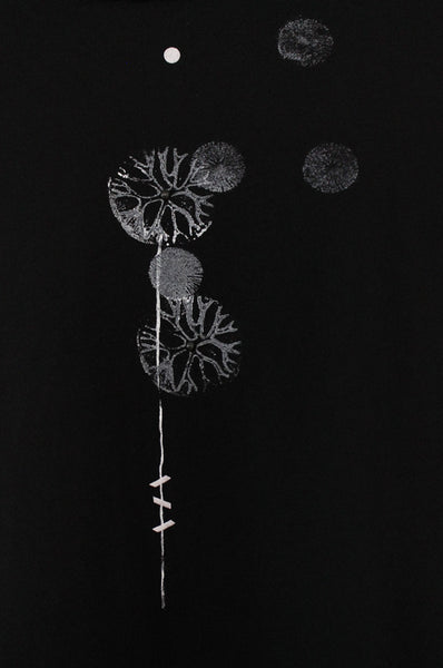 White Dandelion printed Black shirt