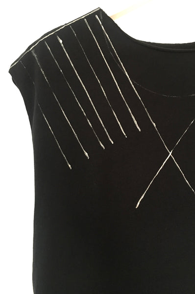 Black shirt with White lines print