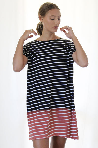 Striped & dyed summer shirt dress
