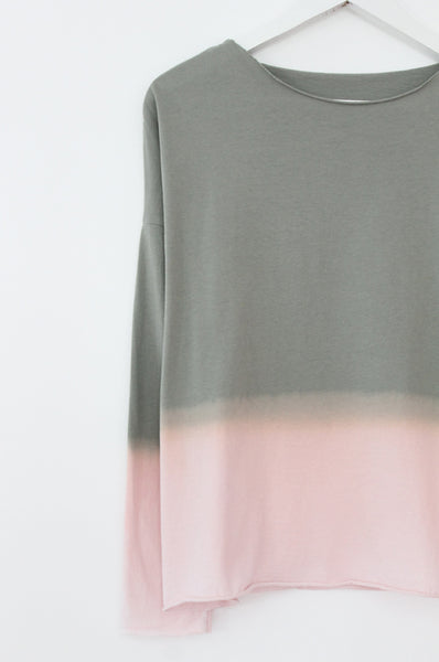 Hand dyed Olive & pink T-shirt