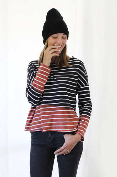 Hand dyed Black & White striped T