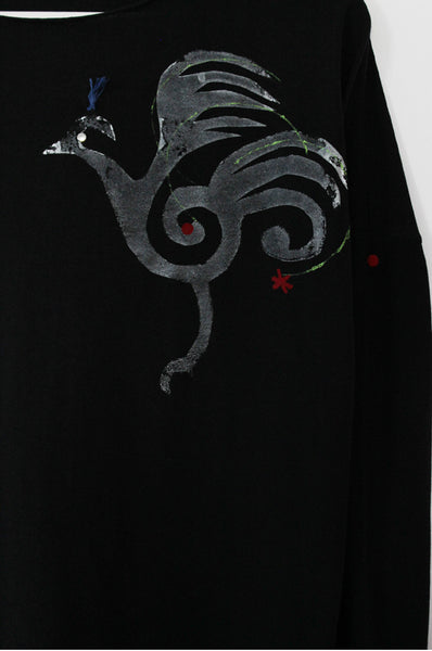 Grey fire bird printed Black shirt