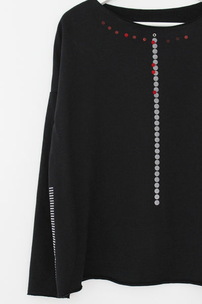 Black sweatshirt with dots & stripes
