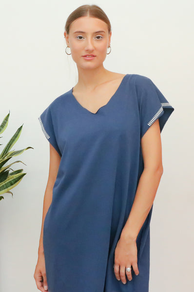 Hand dyed Blue Kaftan T dress
