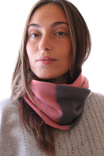 Grey loop scarf with Pink hand dye