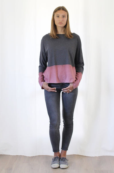 Hand dyed Charcoal long sleeves T
