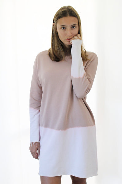 Hand dyed powder pink sweatdress