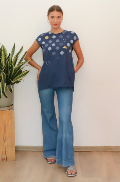 Polka dots printed Blue slits shirt