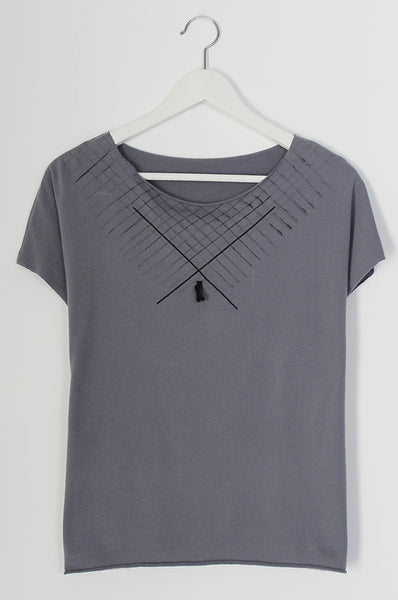 ONE Grey shirt with diagonals print