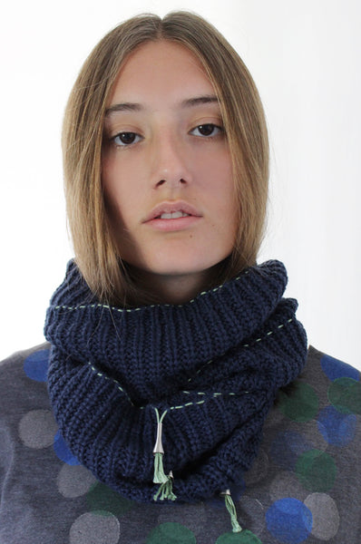 Navy Blue scarf with Green details