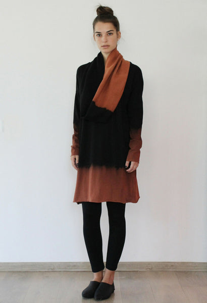 Black and chestnut Brown loop scarf