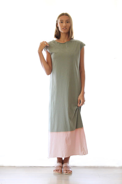 Hand dyed Olive maxi T dress