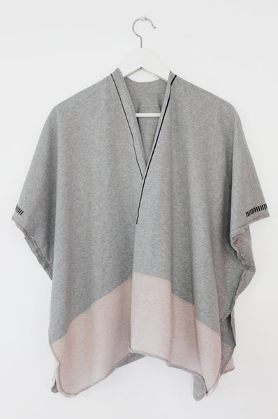 Grey throw on open sweatshirt