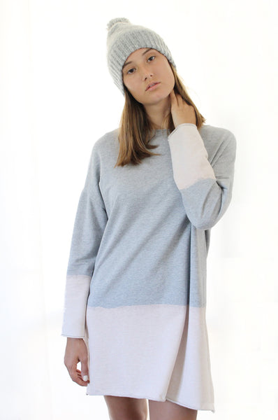 Hand dyed grey sweatshirt dress