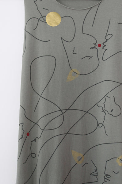 Abstract faces Sage maxi dress