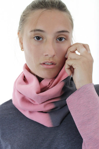 Hand dyed Grey & Pink infinity scarf