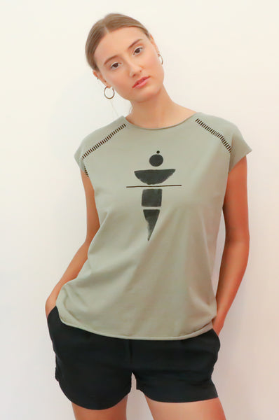 Olive top with grey geometric print