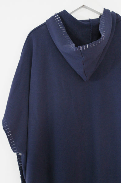 Blue Hooded poncho Sweatshirt