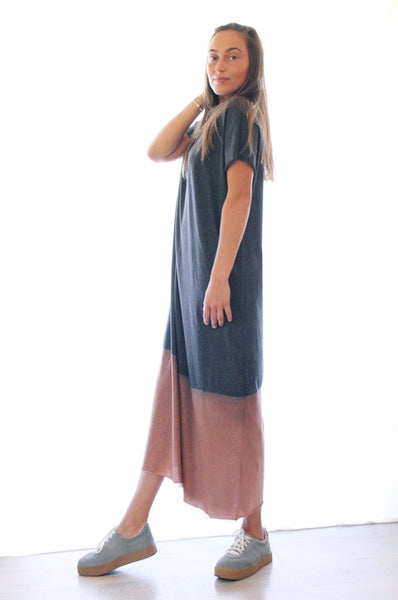 Grey Hand dyed  Maxi T dress