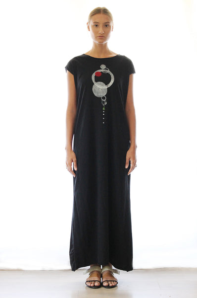 Circles printed black maxi dress