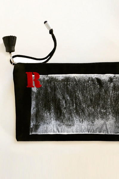 Personalized black canvas pouch