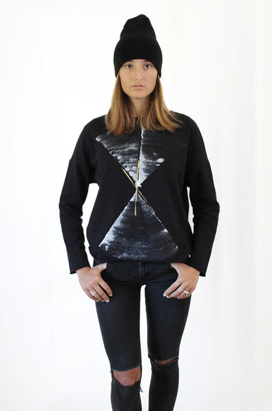 Black sweatshirt with abstract print
