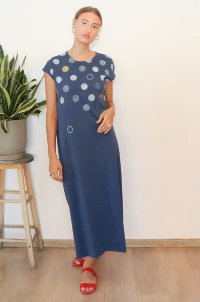 Polka dots printed Blue midi dress