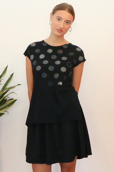 Polka dots printed Black slits shirt