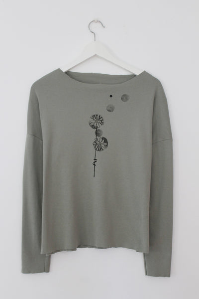 Black Dandelion print on Sage green shirt