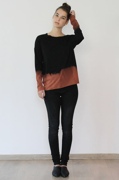 Hand dyed Black & Chestnut T shirt