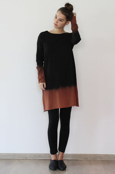 Hand dyed Black & Chestnut dress