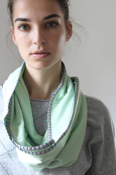 Handmade Mint & Grey loop scarf
