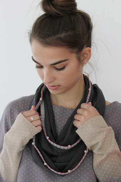 Handmade grey and Pink scarf