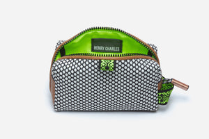 Neon green interior of sultry pop small cosmetic pouchette