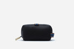 black small cosmetic pouch with zipper closure & elastic side handle to attach to luggage or handbag clips